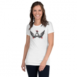 2XL White Astonix Crowned Logo Women's Slim fit Tee