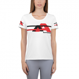 Astonix All-Over Print Women's Athletic T-Shirt (Color: White, Size: L)